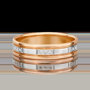 Обручальное кольцо из комбинированного золота с бриллиантом 01-1203-00-101-1111-30