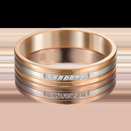 Обручальное кольцо из комбинированного золота с бриллиантом 01-1204-00-101-1111-30