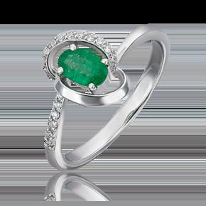Кольцо из белого золота с изумрудом и бриллиантом 01-1603-00-106-1120-30