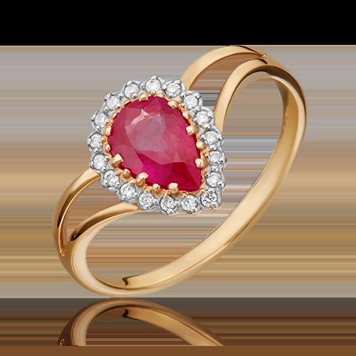 Кольцо из красного золота с рубином и бриллиантом 01-0218-00-107-1110-30