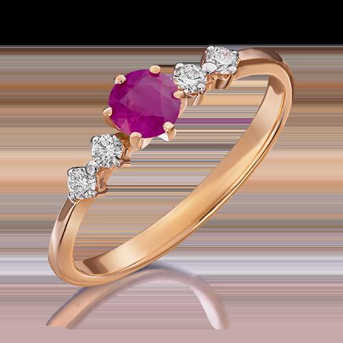 Кольцо из красного золота с рубином и бриллиантом 01-0465-00-107-1110-30