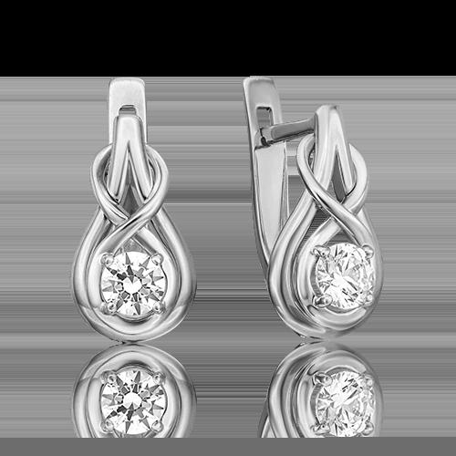 Серьги с английским замком из белого золота бриллиантом 02-4467-00-101-1120-30