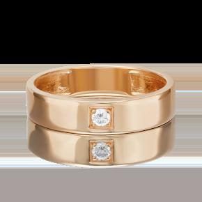 Обручальное кольцо из красного золота с фианитом 01-3399-00-401-1110-03