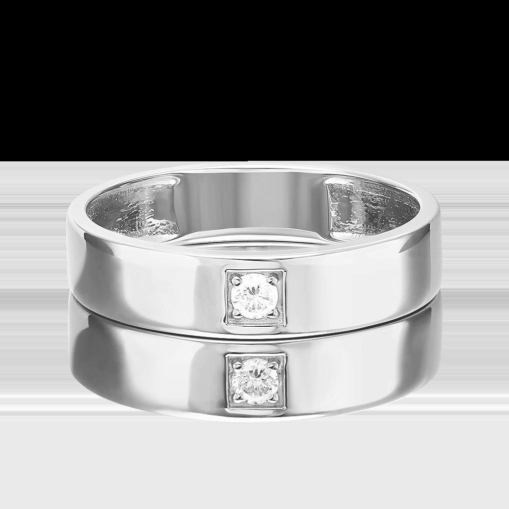 Обручальное кольцо из белого золота с фианитом 01-3400-00-401-1120-03