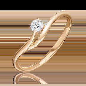 Кольцо из красного золота с бриллиантом 01-0805-00-101-1110-30