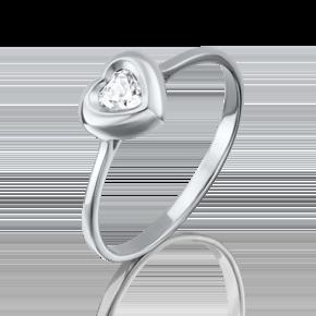 Помолвочное кольцо из белого золота с фианитом огр.SW 01-4831-00-501-1120-38