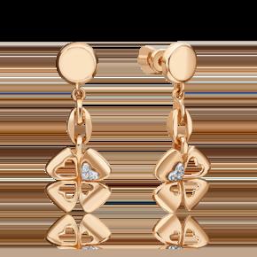 Серьги-пусеты из комбинированного золота с бриллиантом 02-4820-00-101-1111