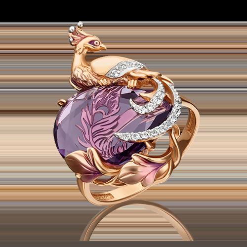 Кольцо из красного золота с аметистом, топазом и эмалью 01-5393-00-225-1110-46