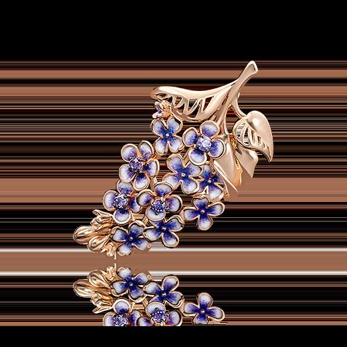 Брошь из красного золота с фианитом и эмалью 04-0163-00-404-1110-48