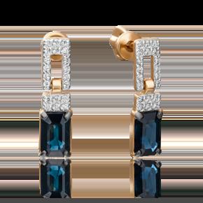 Серьги-пусеты из красного золота с сапфиром и бриллиантом 02-0914-00-105-1110-30