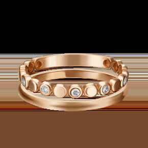 Наборное кольцо из красного золота с фианитом 13-0001-00-401-1110-48