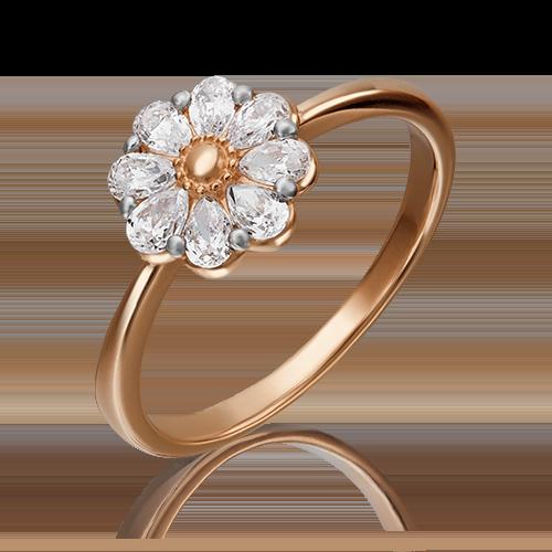 Кольцо из красного золота фианитом огр.SW 01-3631-00-501-1110-38