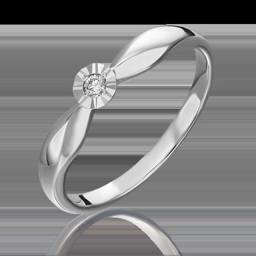 Кольцо из белого золота с бриллиантом 01-1493-00-101-1120-30