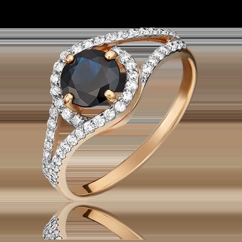 Кольцо из красного золота с сапфиром и бриллиантом 01-1494-00-105-1110-30