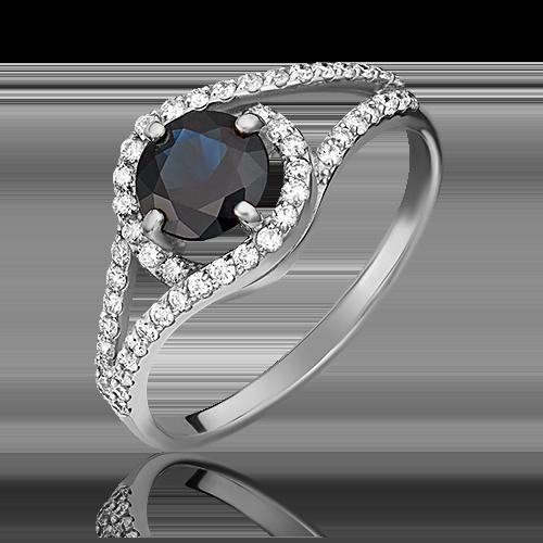 Кольцо из белого золота с сапфиром и бриллиантом 01-1494-00-105-1120-30