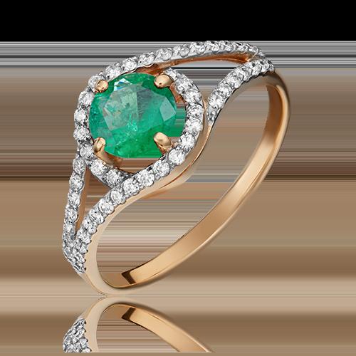 Кольцо из красного золота с изумрудом и бриллиантом 01-1494-00-106-1110-30