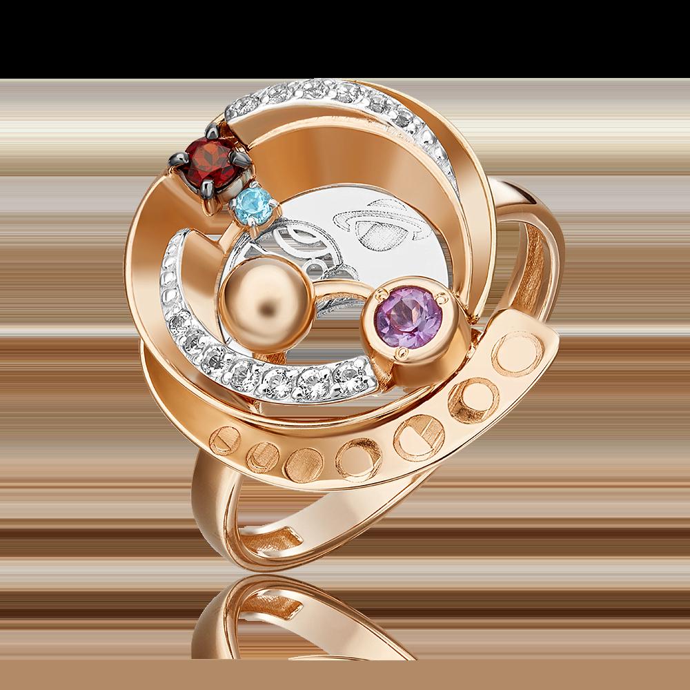 Кольцо из комбинированного золота с гранатом, аметистом, топазом и топазом white 01-5479-00-712-1111-76