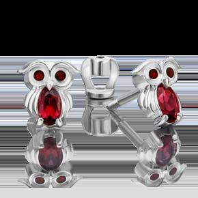 Серьги-пусеты из серебра с гранатом и эмалью 02-4648-00-204-0200-68