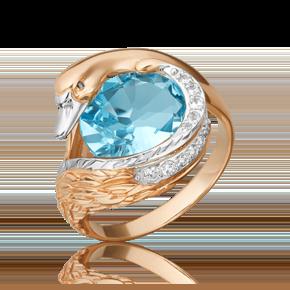 Кольцо из красного золота с топазом и топазом white 01-5464-00-201-1110-46