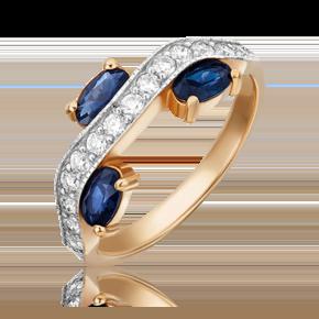 Кольцо из красного золота с сапфиром и бриллиантом 01-5524-00-105-1110-30