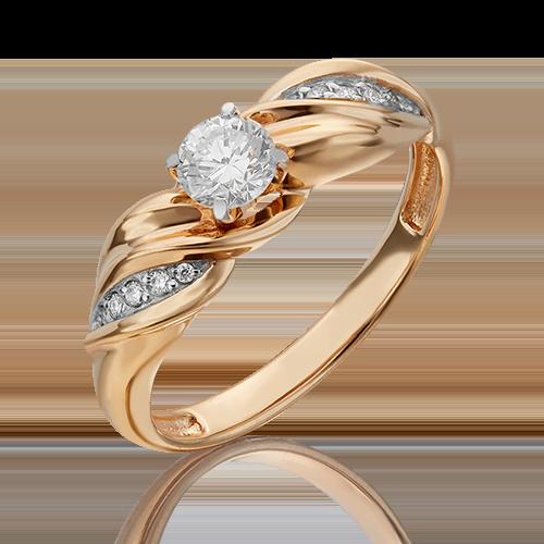 Кольцо из красного золота с бриллиантом 01-4956-00-101-1110-30