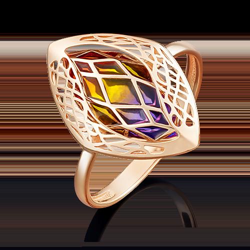 Кольцо из красного золота эмалью 01-4958-00-000-1110-48