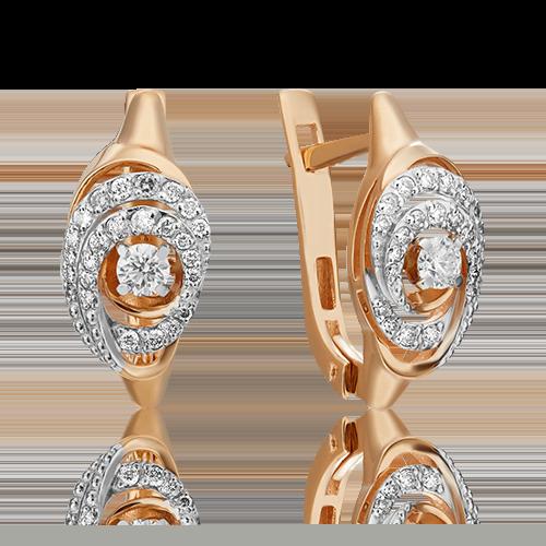 Серьги с английским замком из красного золота с бриллиантом 02-3829-00-101-1110-30