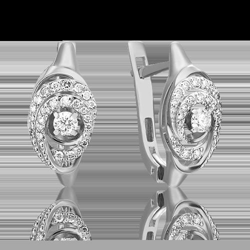 Серьги с английским замком из белого золота с бриллиантом 02-3829-00-101-1120-30